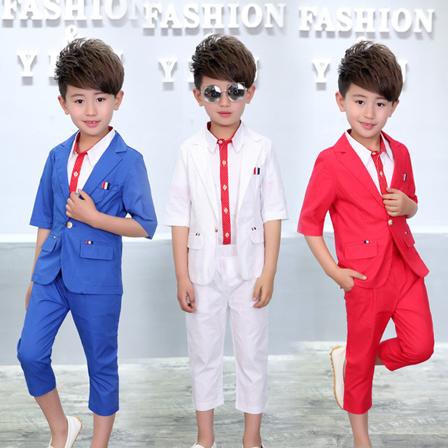 4268659e3337 Summer Baby Suit ( blazer + shirt + Pant ) Wedding Flower Boy Dress Blue  White Red Child Clothing Set Soft And Comfortable Sets