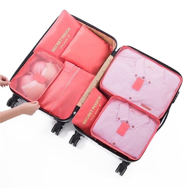 7PCs/Set Travel Zipper Bag Large Capacity Zipper Bags Shoes Clothing Pouches Bags Waterproof Travel Cloth Case Bag