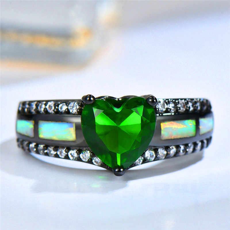 คริสตัลหญิงหัวใจแหวน Boho แหวนไฟสีขาวโอปอลสำหรับผู้หญิง Vintage แฟชั่นสีดำสีเขียวสีแดง Rainbow แหวน