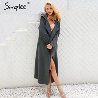 Simplee Casual Long Knitting Cardigan Female Elegant Button Pockets Sweater Overcoat 2017 Autumn Winter Warm Long