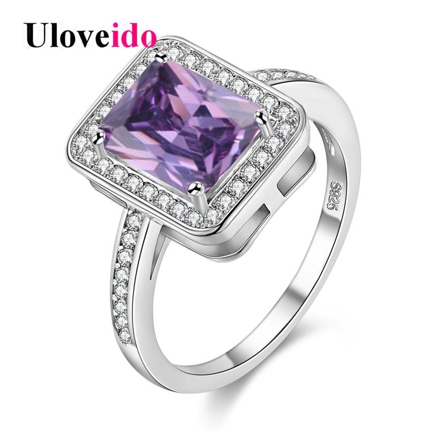 15% de descuento inusual partido cuadrado rosado Anillos ZIRCON regalos  para mujeres anillos cristal regalo Navidad bague Femme 2017 tamaño 6 -7  y3250 b26736300058