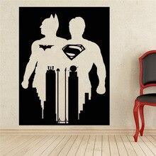 Comics Art Superman & Batman Wall Decal Superhero Sticker home decoration Any Room Waterproof removable wall stickers