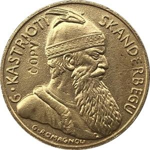 Позолоченные 24-каратные монеты 1887 г., из Albania 20, Franga Ari, копия, бесплатная доставка