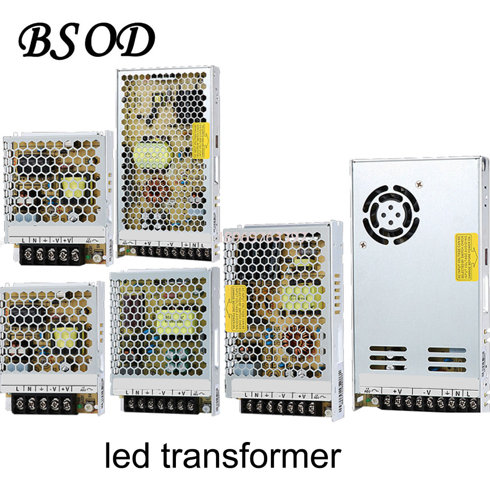 BSOD LED Strip Power Supply DC12V 15W 25W 35W 60W 100W 120W 150W 200W 250W 350W 400W 500W 600W AC100V-240V Lighting Transformer