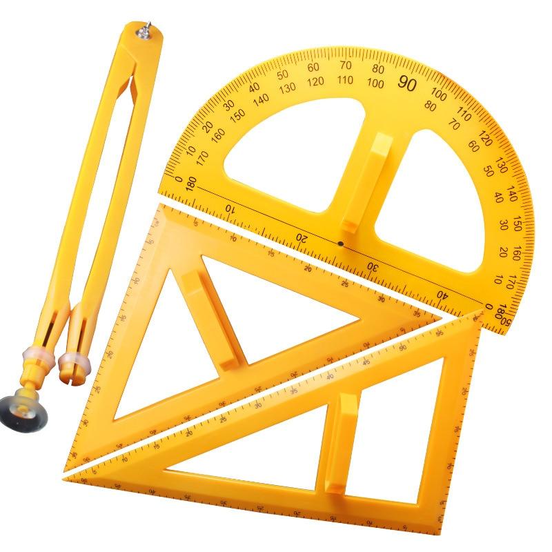 Ensemble triangle d'enseignement règle triangle rapporteur grande règle boussole aide à l'enseignement dessin géométrique équipement de démonstration