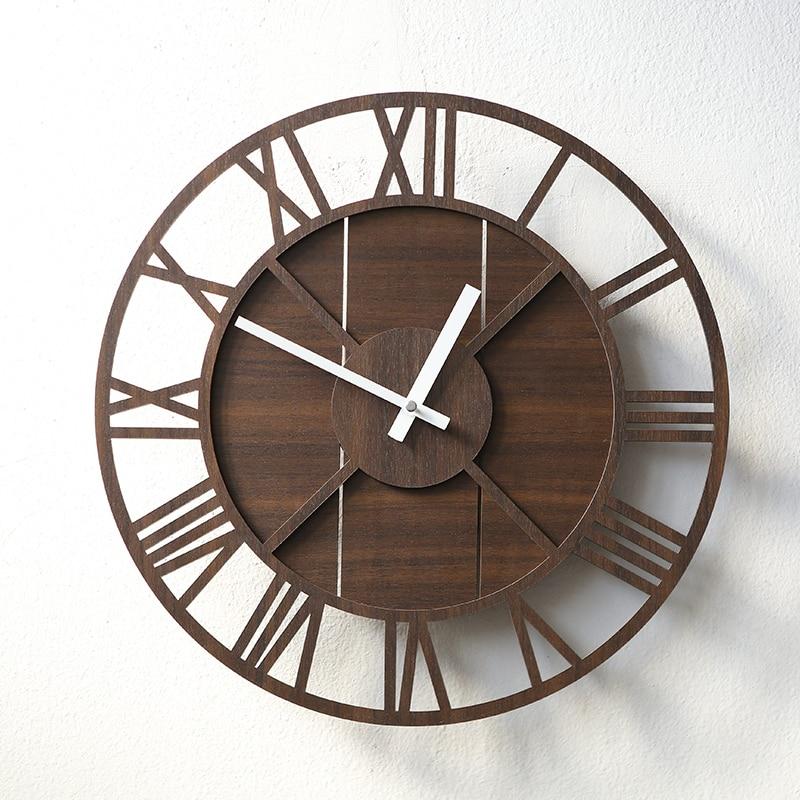 Pin MDF vintage horloge silencieuse ronde décorative en bois horloge murale salon chambre décoration murale