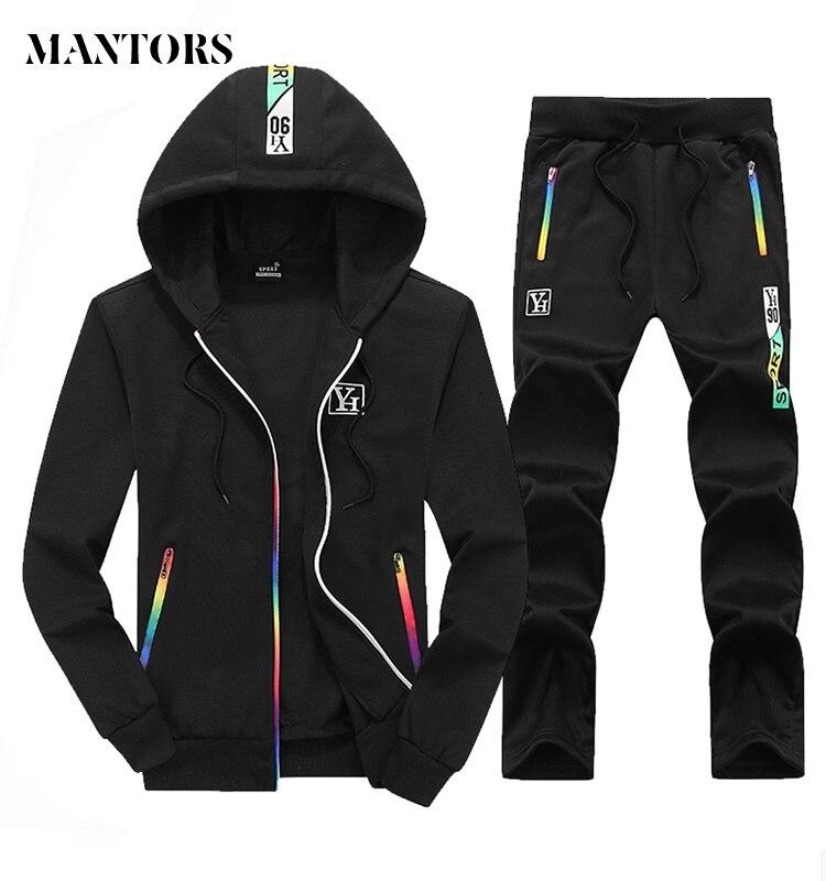 Autumn Men Set 2018 Casual Sportswear Suit Hooded Sweatshirt Tracksuit Men's Solid Zipper Jackets 2PC Hoodies + Pants Sets Male
