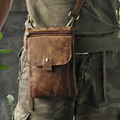 Vintage Fashion Casual Genuine Leather Real Cowhide Men Waist Pack Shoulder Messenger Cross Body Bags Packs Man