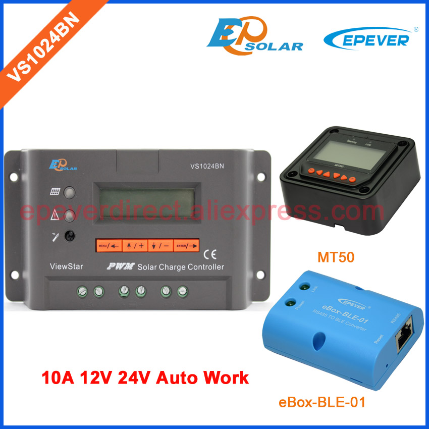 PWM controller for solar system use New series VS1024BN 12v/24v EPEVER Solar 24V regulator with BLE BOX and MT50 remote meter vs1024bn new pwm controller network access computer control can connect with mt50 for communication