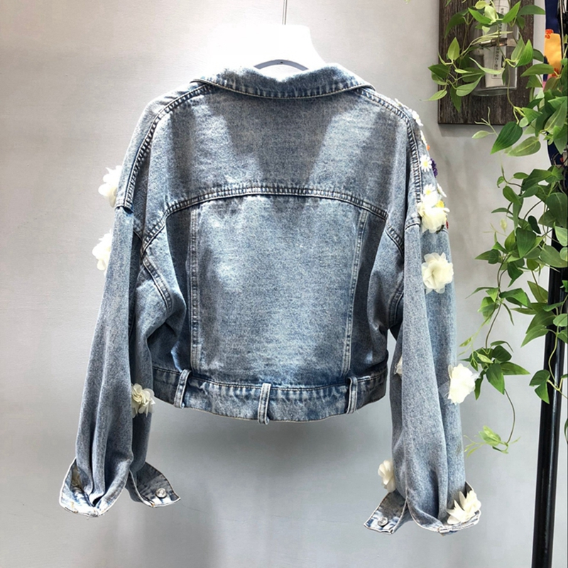 Rock New Jaqueta Design Lt508s50 A Punk Autumn 2018 Jacket 3d Vintage Embroidery Denim Jeans Harajuku Coat Flower b Short v8xqEw