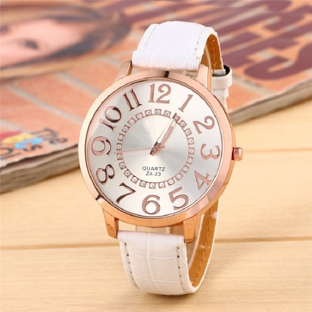 Big Face Dial Women Watch Golden Numbers Quartz Wristwatch girl fashion PU  Leather reloj mom gift 4beb29d35