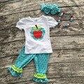 Девушки летние шорты наряды девочек обратно в школу одежда дети яблоко устанавливает горошек рябить caprt набор с аксессуарами