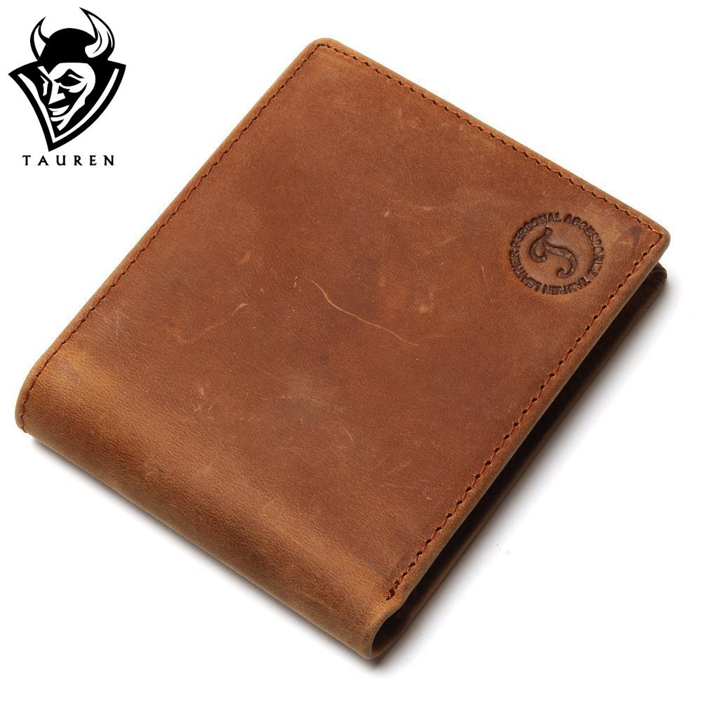 Free Shipping Hot Sale Men's Genuine Crazy Horse Leather Small Wallets Pocketbook Purse Low Price