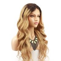 Парики из натуральных волос Блонд Омбре на кружеве для черных женщин Remy 4/27 темно корни 2 тона свободные волнистые человеческие волосы парик