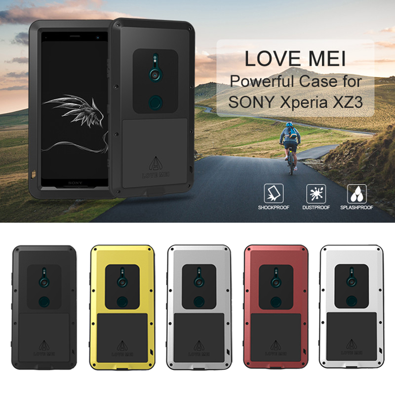LOVEMEI couvercle étanche en métal puissant pour Sony Xperia XZ3 boîtier en aluminium complet coque arrière antichoc défenseur coque de téléphone