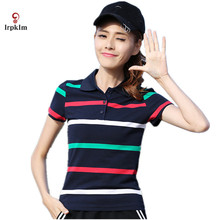 2017 Summer Brand Polo Shirts Femme Stripes Bottoming Large Size Short Sleeve Women Slim Lapel Clothes