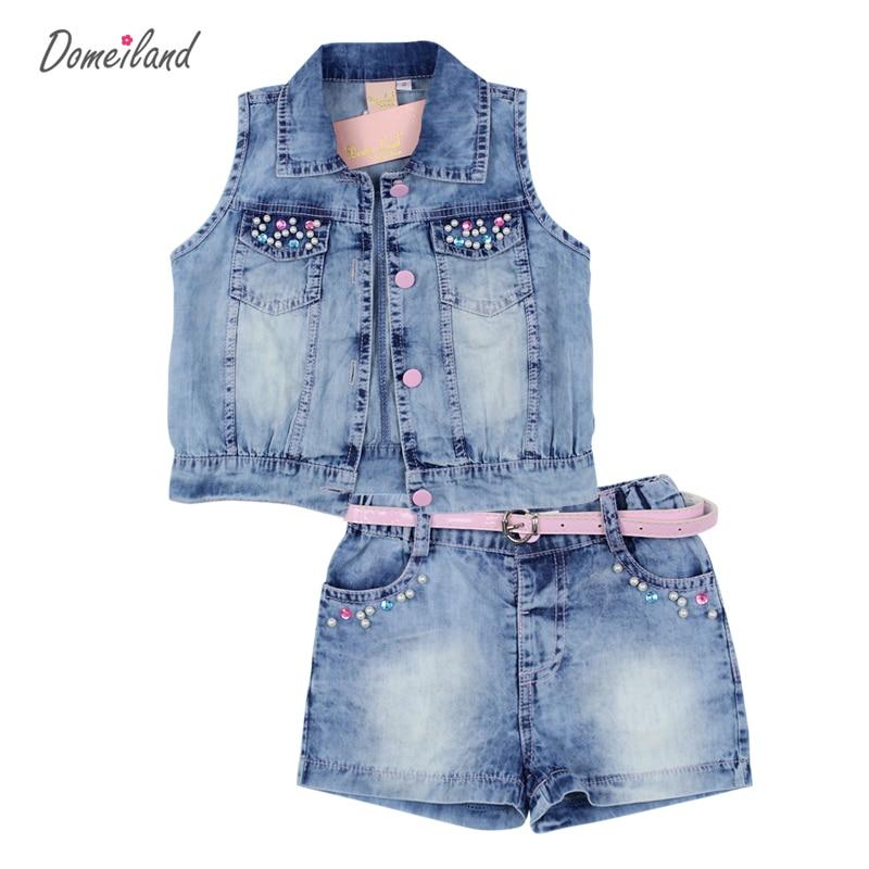 2017 fashion domeiland summer children clothing sets girl outfits Rhinestone sleeveless Cardigan jackets Denim shorts pant