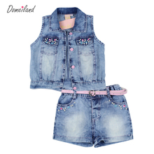 2017 mode domeiland d'été enfants vêtements ensembles fille tenues Strass sans manches Cardigan vestes Denim shorts pantalon costume