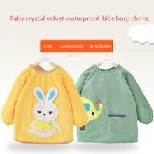 13 Colors Available Baby SMOCK Crystal Velvet Long Sleeve Waterproof Smock Bibs  Stuff Burp Cloths