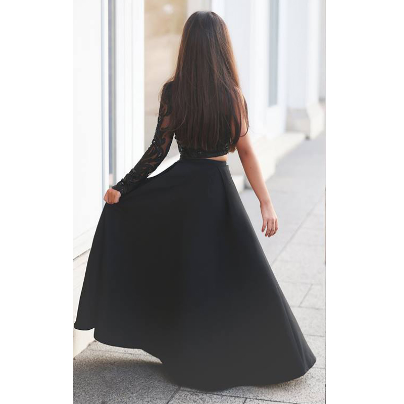 cd80948c1c9 Black One Shoulder Long Sleeve Kids Prom Dresses A Line Two Piece Beaded  Flower Girls Dresses 2017-in Flower Girl Dresses from Weddings   Events on  ...