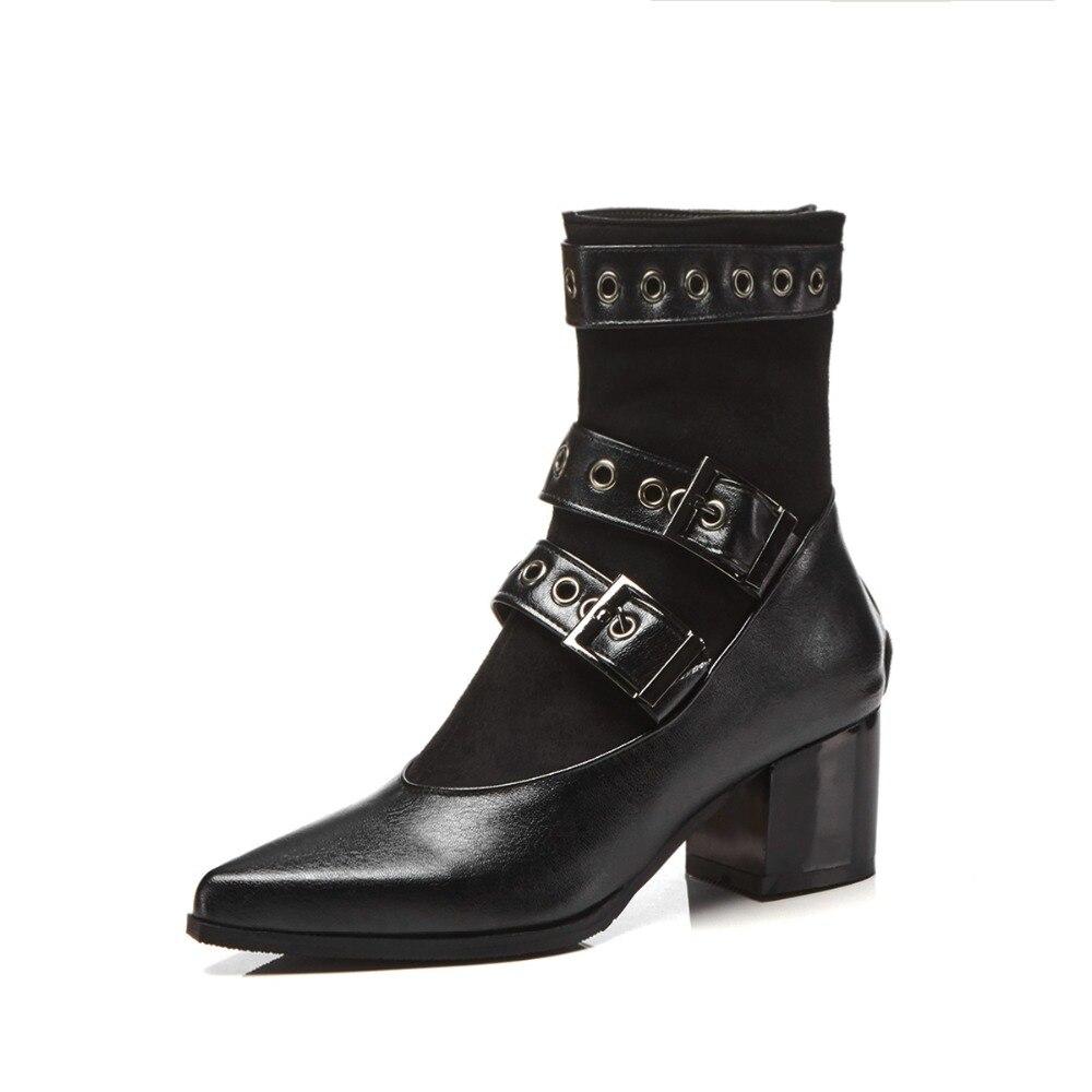 Tobillo S Zapatos Tacones Más Romance Sb230 Tamaño Cuadrados Moda Alta Botas Mujer 43 2018 Negro Mujeres 34 RwfARpqx