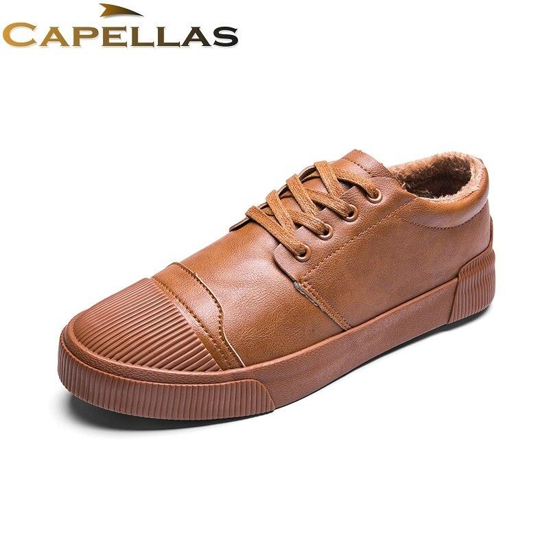 CAPELLAS Men Leather Shoes Men`s Winter Shoes Warm Fur&Plush Lace-Up Fashion Brand Casual Shoes Business Men Shoes Size 39-44 playeagle men
