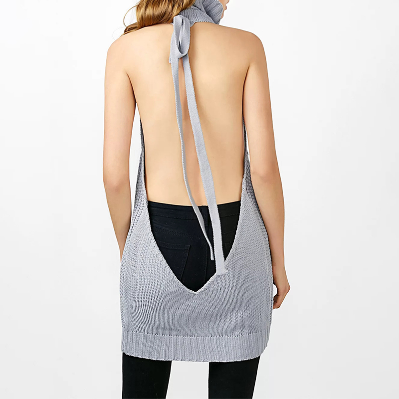 Long Virgin Killer Backless Sweater Turtleneck 1
