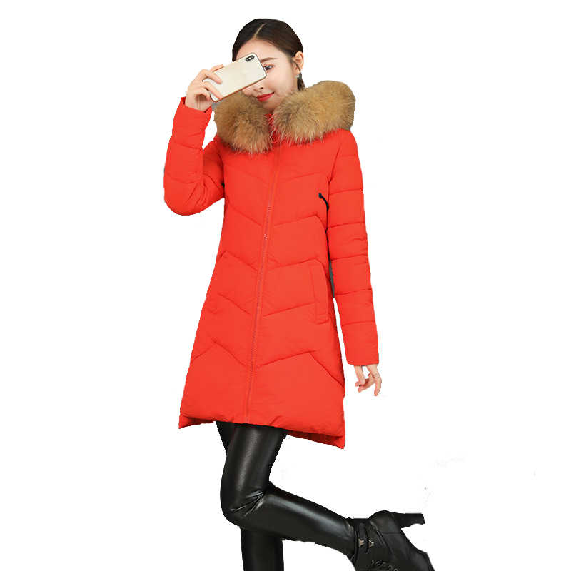 Down jacket cotton jacket female 2019 new slim mid-length coat ladies thicken winter hooded fur collar down cotton coat women