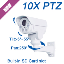 FULL HD 2MP 1080P MINI PTZ PoE 10X optical zoom IP P2P onvif IR 60M outdoor SD Card slot Network security cctv Camera