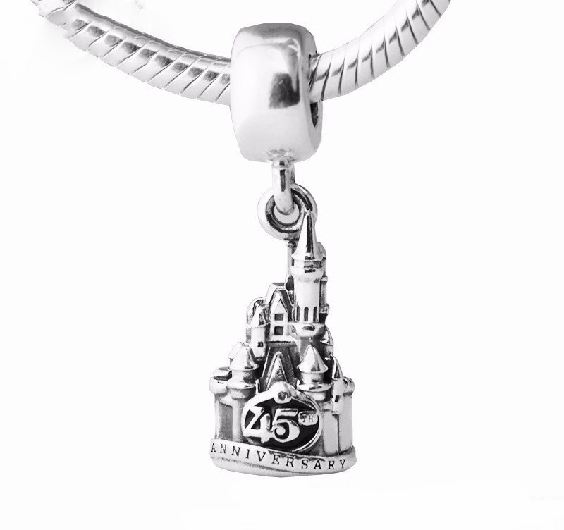 925 Sterling Silver Dangle Cinderella Castle Magic Kingdom 45th Anniversary Charm DIY Beads Fits Pandora Charms Bracelet women