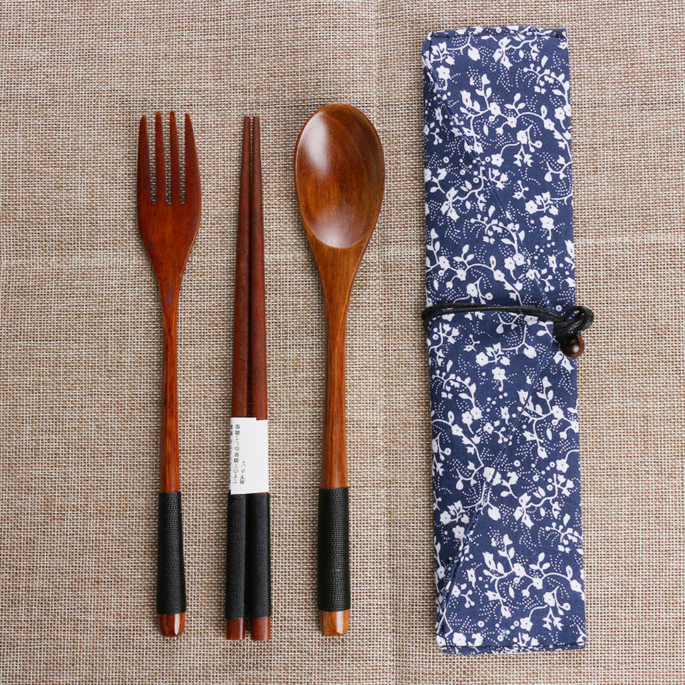 Japanese Style Spoon Fork Chopsticks Portable Tableware Environmental Wooden Cutlery Sets Travel Dinnerware Suit with Cloth Pack