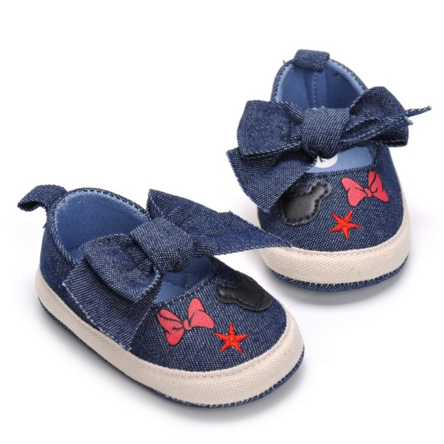 2019 Cute Shoes Baby Canvas Print Baby Shoes Moccasins Cute Bow Soft Sole Prewalkers Summer Toddler Infant Girls Shoes 2018 1