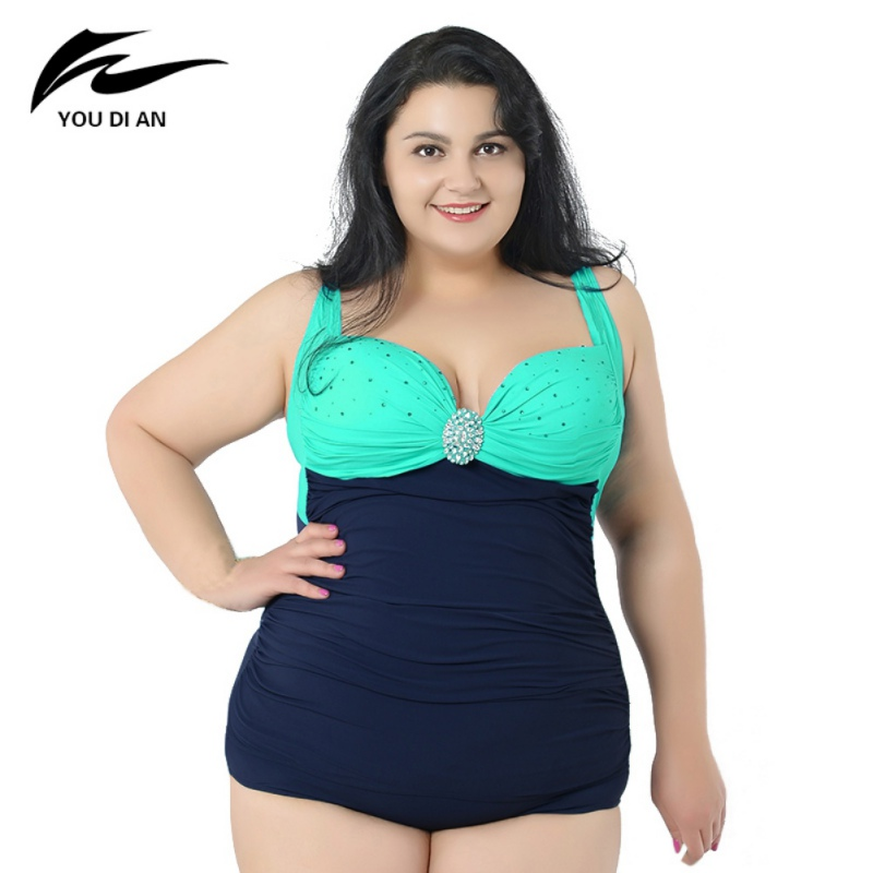 2017 Sexy Plus Size One Piece Swimwear New Bathing Dress Lady Beach Suit For Women Diamond Decoration Swiming Suit 4 Colors