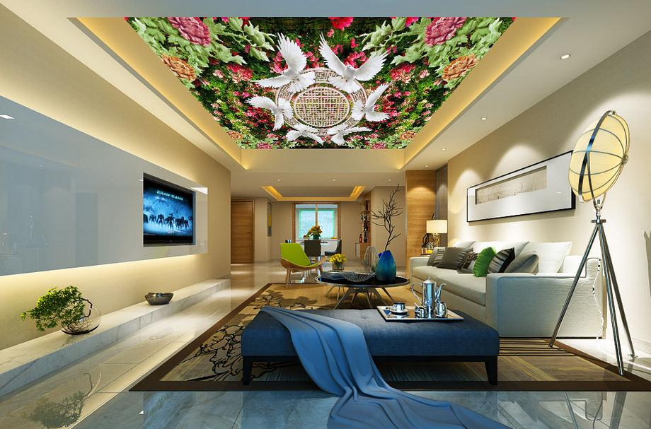 Customized 3d wallpaper 3d ceiling wallpaper murals 3 d hd for 3d roof wallpaper