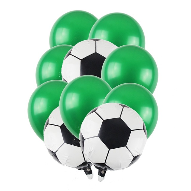 10Pcs Football Soccer Balloon Bouquet Green Latex Round Foil Balloons For Boy Birthday Party Kids Celebrate