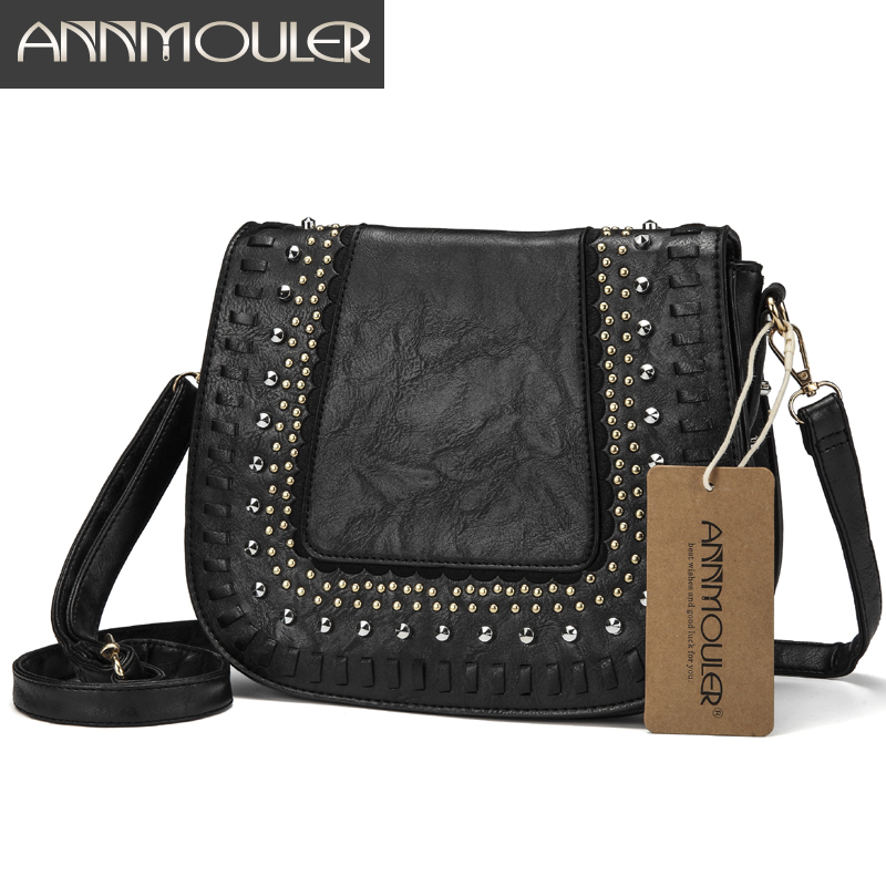 Annmouler Vintage Women Shoulder Bag 4 Colors Crossbody Bag Pu Leather Lace Flower Messenger Bag New Design Ladies Purse luxury flower fashion design pu leather women s chain purse shoulder bag handbag female crossbody mini messenger bag 3 colors