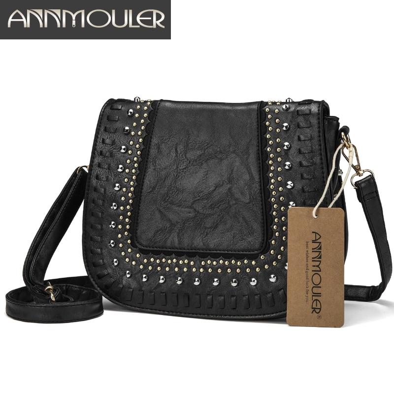 Annmouler Vintage Women Shoulder Bag 4 Colors Crossbody Bag Pu Leather Lace Flower Messenger Bag New Design Ladies Purse