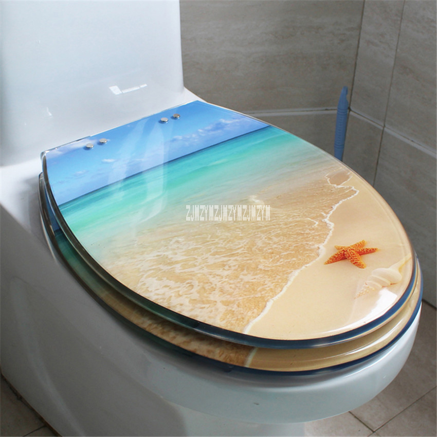 New Hot 47*38CM High-grade Beautiful Beach Pattern Resin Thickened Stainless Steel Hinges Toilet Seat Cover U/V/O Type Universal