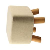 Modern Luxury Upholstered Footstool Pouffe Stool Wooden Leg Pattern Square Fabric Grey 4 Legs