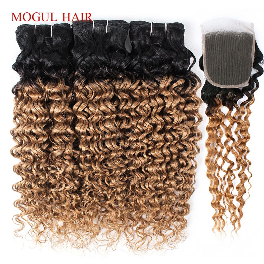 MOGUL HAIR T 1B 27 Water Ombre Honey Blonde 3 4 Bundles With Closure Brazilian Hair