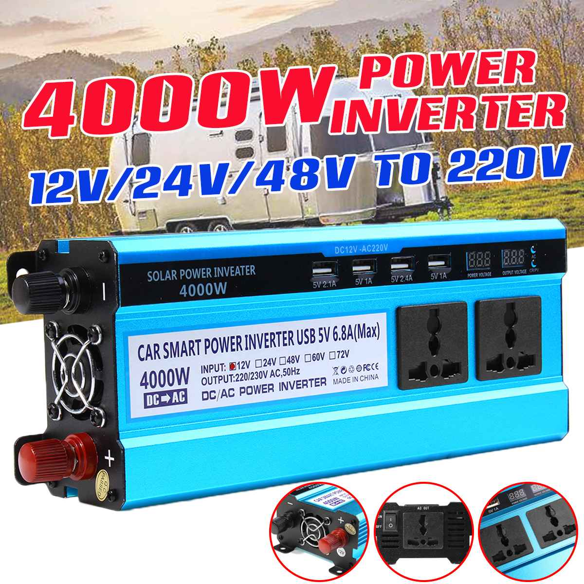 <font><b>4000W</b></font> <font><b>Inverter</b></font> <font><b>12V</b></font>/24V/48V to 220V Voltage Converter Transformer Double LED Display 4 USB Solar Power <font><b>Inverter</b></font> image