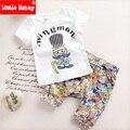 Dos desenhos animados Do Bebê Menino Roupas de Verão 2016 Nova Moda Infantil Meninos Roupas criança Meninos Roupas Definir T-shirt + Calças de Algodão 100% T516