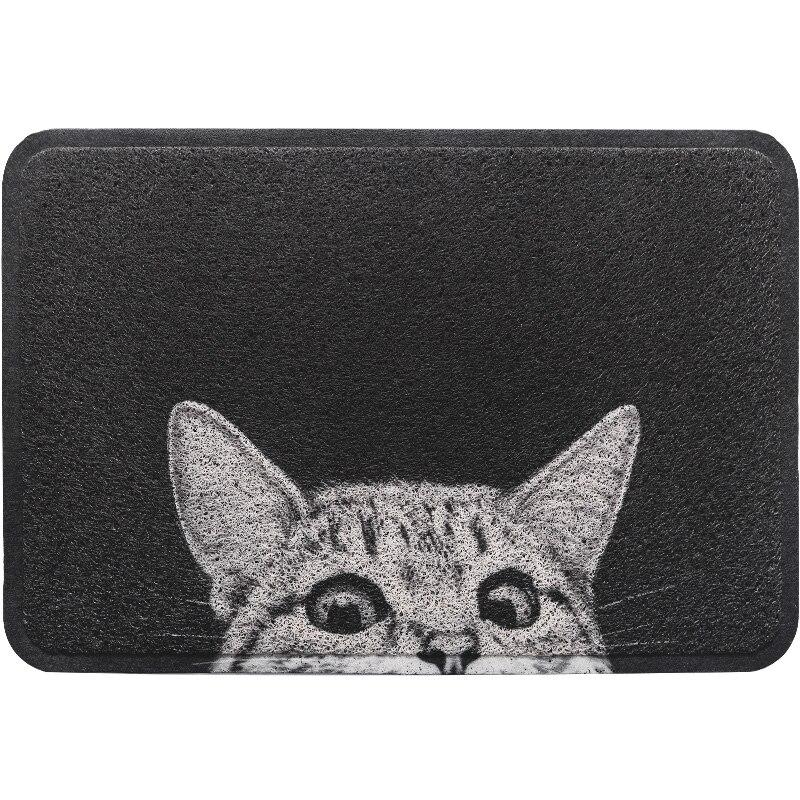 PVC soie boucle anti-poussière noir paillasson mignon chat tapis extérieur tapis chaussures grattoir pour salle de bain tapis et tapis