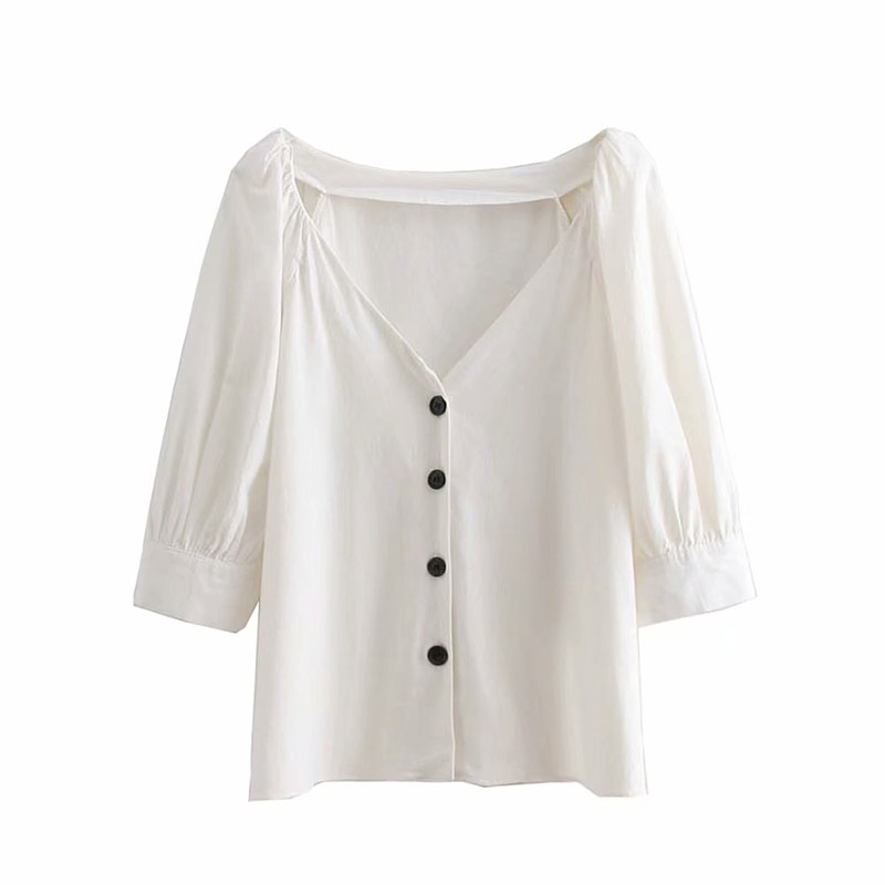 White Blouse Women Tops And Blouses Cotton Long Sleeve Blouse Shirt V Neck Summer Blouse Shirt Blusas Y Camisas De Mujer S065