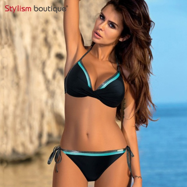 Sexy Bikinis Set Solid Printed Bikini Push Up Bandage Halter Swimsuit Bathing Suit Women Swimwear maillot de bain femme 2018