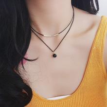 2018 nowy koreański moda kryształ wisiorek Chokers naszyjniki dla kobiet dwuwarstwowe naszyjniki tanie tanio MENGJIQIAO Zinc Alloy Wisiorek naszyjniki Kobiety Link łańcucha TRENDY Leather Geometric