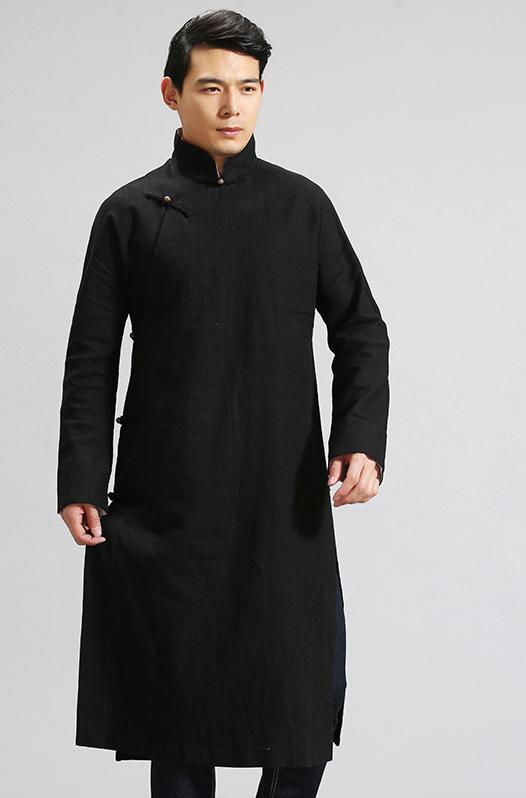 f3e51263ecf77c € 47.65  Chinois Traditionnel Robe Hommes Mandarin Col Longue Robes Plus La  Taille Chinois Traditionnel Vêtements Linge Tranchée Manteaux Long ...