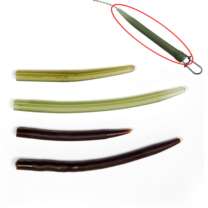 [100pcs] Soft Rubber Cone Sleeve for Carp Fishing Rig Making Terminal Tackle Green Brown Color Size L/S