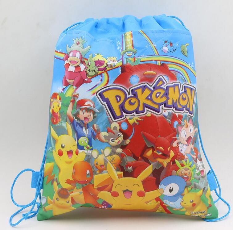 Non Woven Fabrics Pokemon Go Theme Backpack Kidergarten Drawstring School Bag Pikachu Birthday Decorations Gift