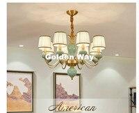 Modern Nordic Chandelier Lustre Copper Brass Iron Lamps Lighting Pendant Lustre Crital Modern Jade Ceramic Chandelier